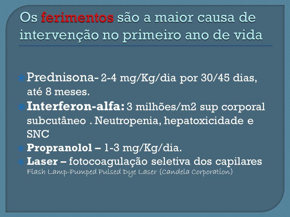 Prednisona- 2-4 mg/Kg/dia por 30/45 dias, até 8 meses. Interferon-alfa: 3 milhões/m2 sup corporal subcutâneo. Neutropenia, hepatoxicidade e SNC Propra