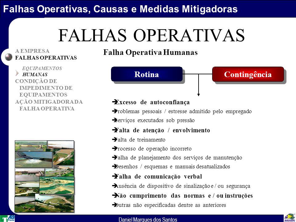 Falhas Operativas, Causas e Medidas Mitigadoras Daniel Marques dos Santos A EMPRESA FALHAS OPERATIVAS EQUIPAMENTOS HUMANAS CONDIÇÃO DE IMPEDIMENTO DE EQUIPAMENTOS AÇÃO MITIGADORA DA FALHA OPERATIVA FALHAS OPERATIVAS Falha Operativa Humanas Rotina Contingência èExcesso de autoconfiança èProblemas pessoais / estresse admitido pelo empregado èServiços executados sob pressão èFalta de atenção / envolvimento èFalta de treinamento èProcesso de operação incorreto èFalha de planejamento dos serviços de manutenção èDesenhos / esquemas e manuais desatualizados èFalha de comunicação verbal èAusência de dispositivo de sinalização e / ou segurança èNão cumprimento das normas e / ou instruções èOutras não especificadas dentre as anteriores