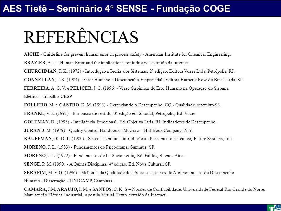 AES Tietê – Seminário 4 SENSE - Fundação COGE Daniel Marques dos Santos REFERÊNCIAS AICHE - Guide line for prevent human error in process safety - American Institute for Chemical Engineering.