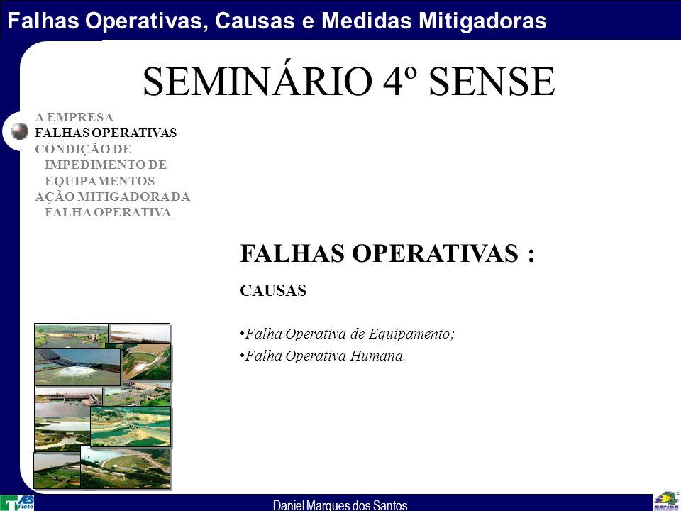 Falhas Operativas, Causas e Medidas Mitigadoras Daniel Marques dos Santos A EMPRESA FALHAS OPERATIVAS CONDIÇÃO DE IMPEDIMENTO DE EQUIPAMENTOS AÇÃO MITIGADORA DA FALHA OPERATIVA SEMINÁRIO 4º SENSE FALHAS OPERATIVAS : CAUSAS Falha Operativa de Equipamento; Falha Operativa Humana.