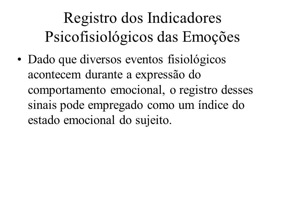 Registro dos Indicadores Psicofisiológicos das Emoções Dado que diversos eventos fisiológicos acontecem durante a expressão do comportamento emocional