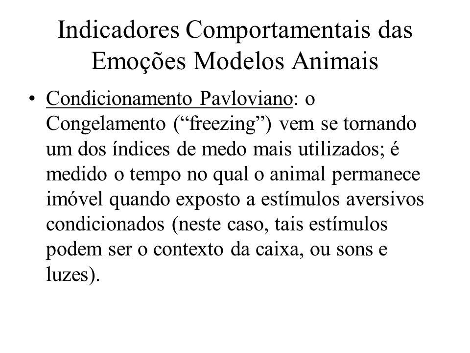 Indicadores Comportamentais das Emoções Modelos Animais Condicionamento Pavloviano: o Congelamento (freezing) vem se tornando um dos índices de medo m