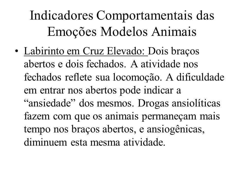 Indicadores Comportamentais das Emoções Modelos Animais Labirinto em Cruz Elevado: Dois braços abertos e dois fechados. A atividade nos fechados refle