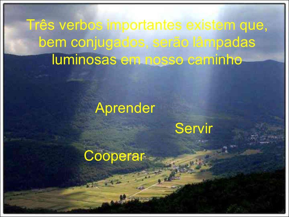 Três verbos importantes existem que, bem conjugados, serão lâmpadas luminosas em nosso caminho Aprender Servir Cooperar