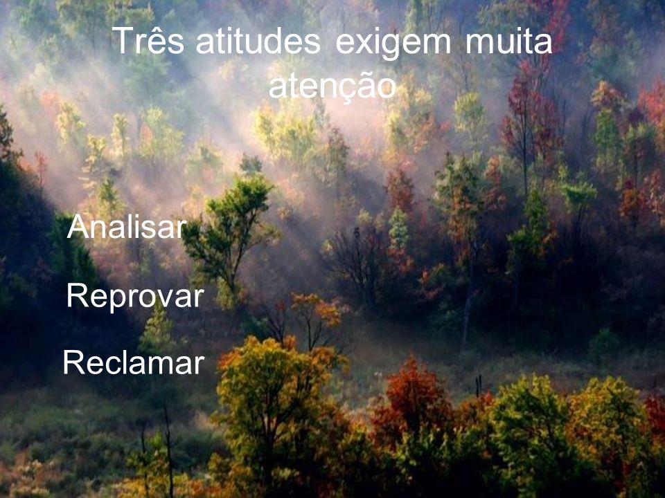 Três atitudes exigem muita atenção Analisar Reprovar Reclamar