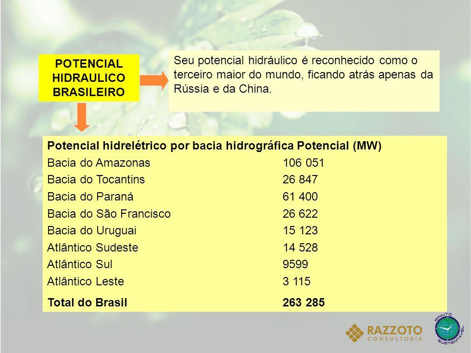POTENCIAL HIDRAULICO BRASILEIRO Seu potencial hidráulico é reconhecido como o terceiro maior do mundo, ficando atrás apenas da Rússia e da China. Pote