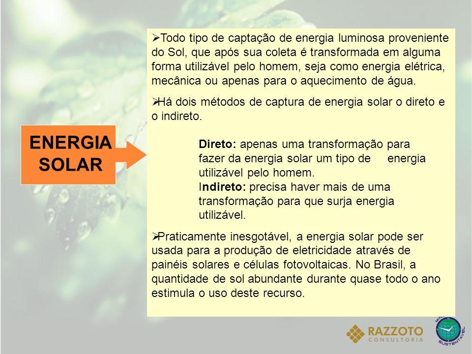 ENERGIA SOLAR Todo tipo de captação de energia luminosa proveniente do Sol, que após sua coleta é transformada em alguma forma utilizável pelo homem,