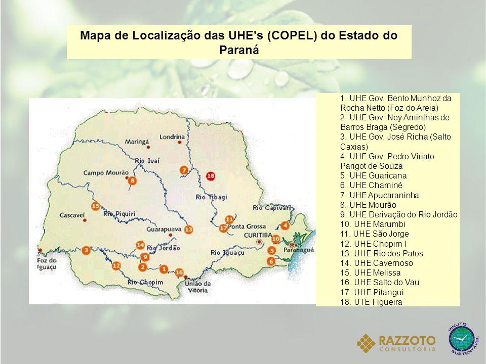 Mapa de Localização das UHE's (COPEL) do Estado do Paraná 1. UHE Gov. Bento Munhoz da Rocha Netto (Foz do Areia) 2. UHE Gov. Ney Aminthas de Barros Br