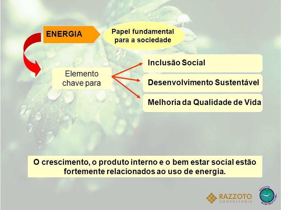 O crescimento, o produto interno e o bem estar social estão fortemente relacionados ao uso de energia. Elemento chave para ENERGIA Papel fundamental p