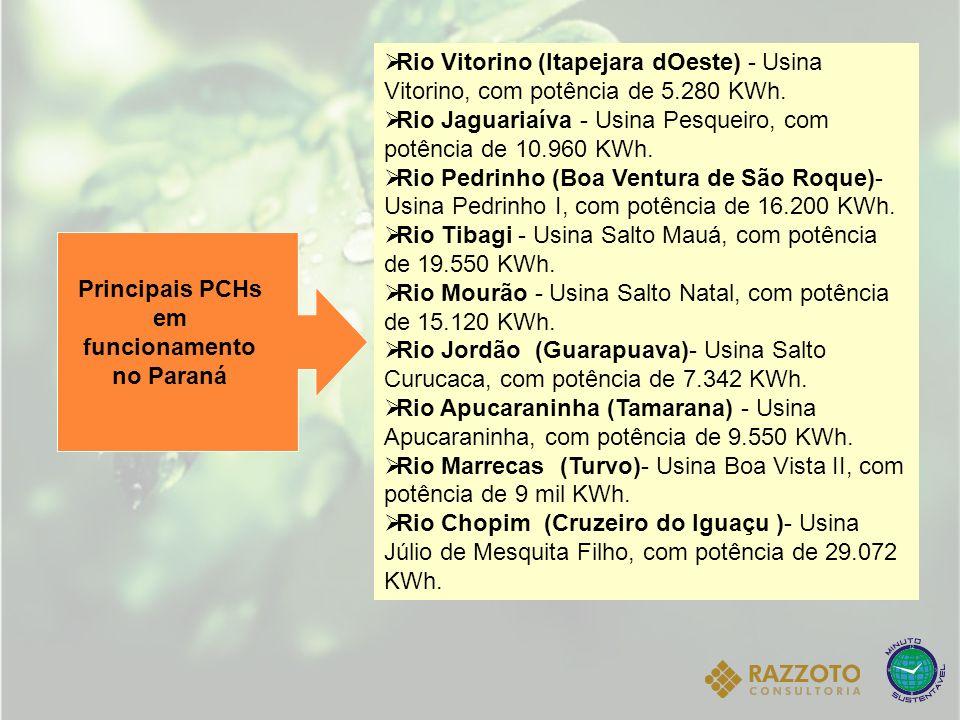 Rio Vitorino (Itapejara dOeste) - Usina Vitorino, com potência de 5.280 KWh. Rio Jaguariaíva - Usina Pesqueiro, com potência de 10.960 KWh. Rio Pedrin