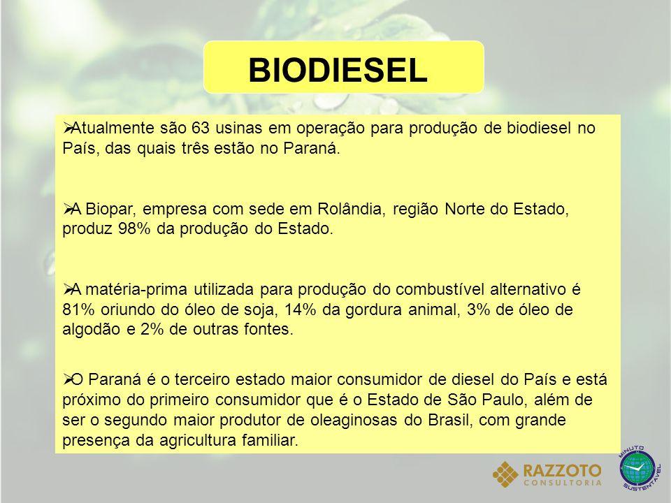 BIODIESEL Atualmente são 63 usinas em operação para produção de biodiesel no País, das quais três estão no Paraná. A Biopar, empresa com sede em Rolân