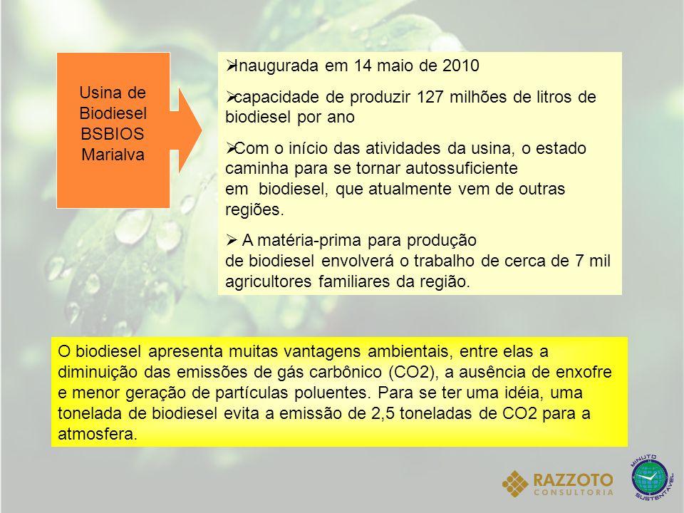 Usina de Biodiesel BSBIOS Marialva Inaugurada em 14 maio de 2010 capacidade de produzir 127 milhões de litros de biodiesel por ano Com o início das at