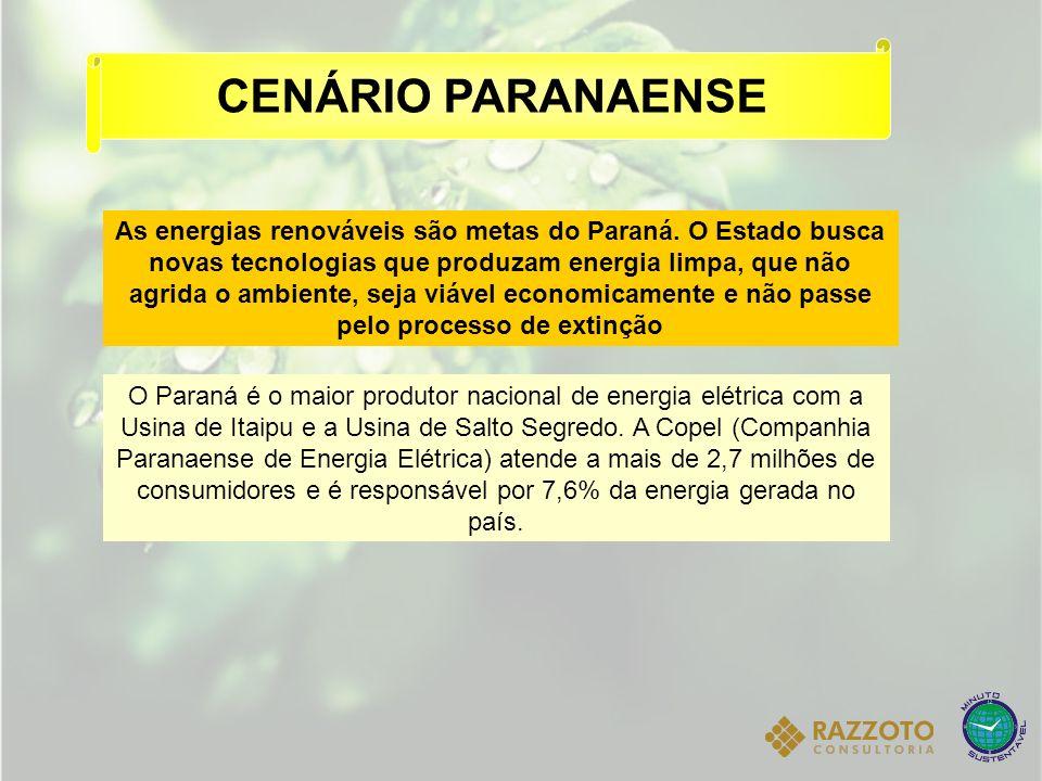 As energias renováveis são metas do Paraná. O Estado busca novas tecnologias que produzam energia limpa, que não agrida o ambiente, seja viável econom