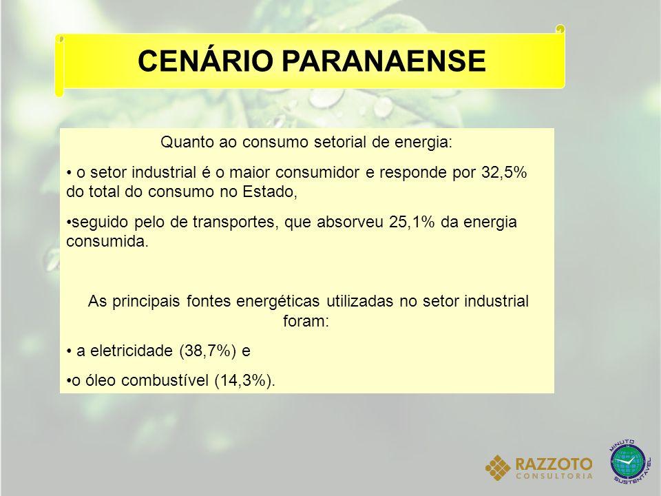CENÁRIO PARANAENSE Quanto ao consumo setorial de energia: o setor industrial é o maior consumidor e responde por 32,5% do total do consumo no Estado,