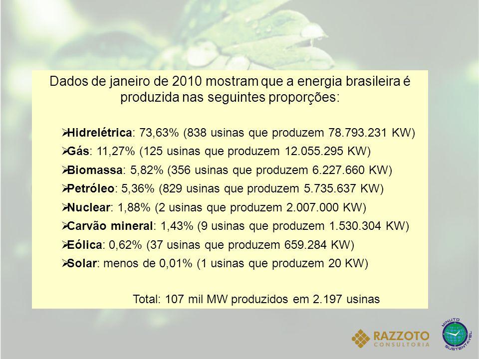 Dados de janeiro de 2010 mostram que a energia brasileira é produzida nas seguintes proporções: Hidrelétrica: 73,63% (838 usinas que produzem 78.793.2