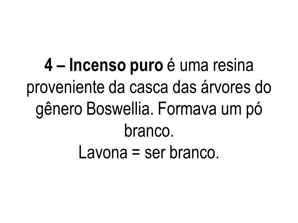 4 – Incenso puro é uma resina proveniente da casca das árvores do gênero Boswellia. Formava um pó branco. Lavona = ser branco.