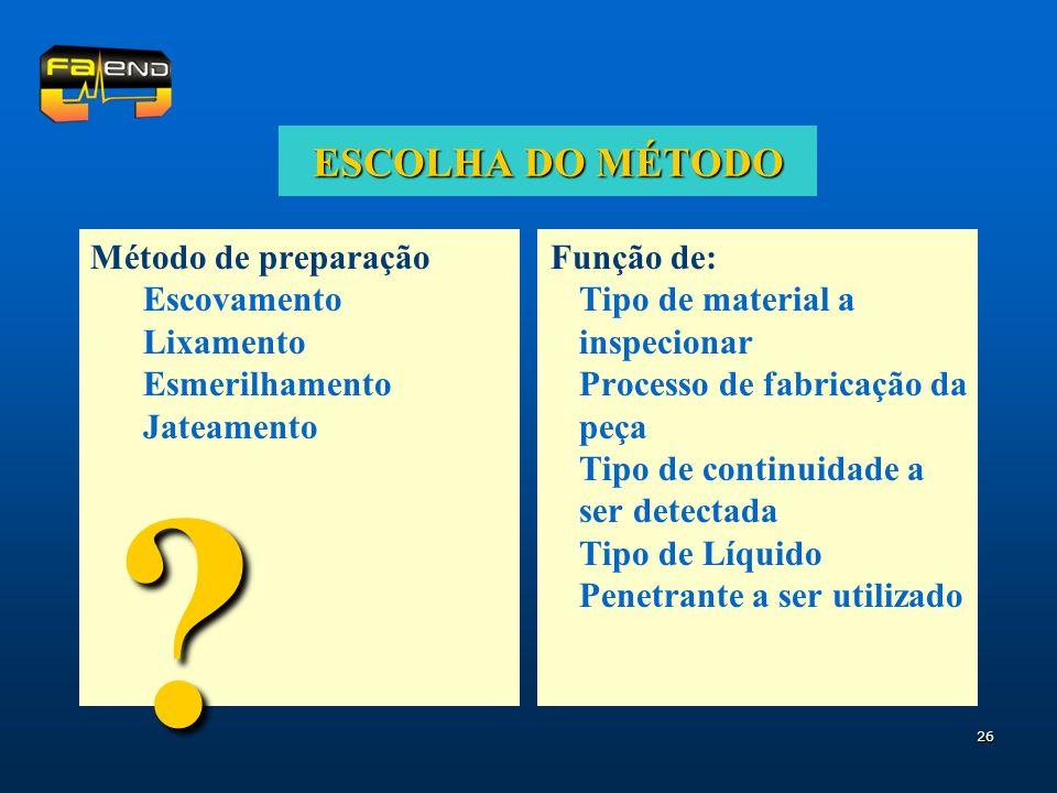 26 ESCOLHA DO MÉTODO Método de preparação Escovamento Lixamento Esmerilhamento Jateamento Função de: Tipo de material a inspecionar Processo de fabric