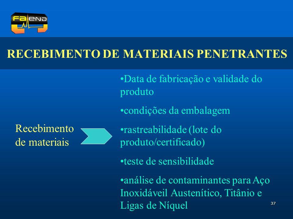37 RECEBIMENTO DE MATERIAIS PENETRANTES Recebimento de materiais Data de fabricação e validade do produto condições da embalagem rastreabilidade (lote