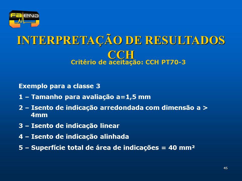 45 INTERPRETAÇÃO DE RESULTADOS CCH Critério de aceitação: CCH PT70-3 Exemplo para a classe 3 1 – Tamanho para avaliação a=1,5 mm 2 – Isento de indicaç