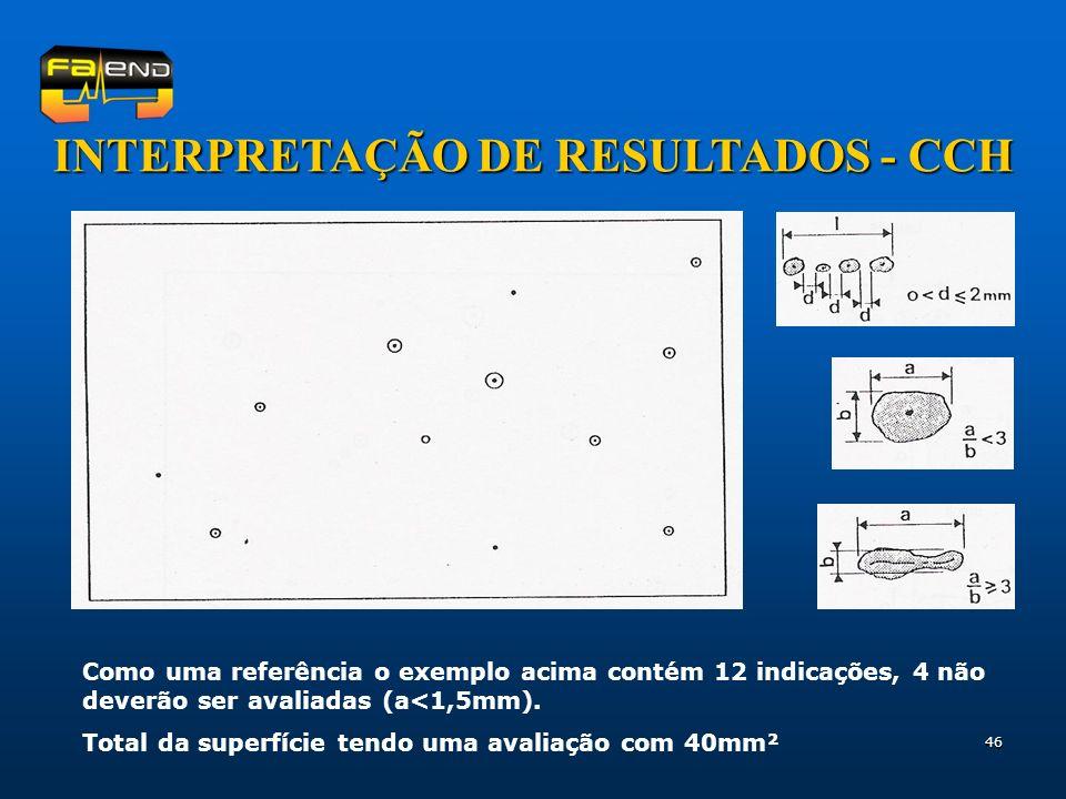 46 INTERPRETAÇÃO DE RESULTADOS - CCH Como uma referência o exemplo acima contém 12 indicações, 4 não deverão ser avaliadas (a<1,5mm). Total da superfí