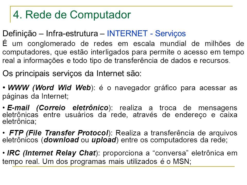 4. Rede de Computador Definição – Infra-estrutura – INTERNET - Serviços Os principais serviços da Internet são: WWW (Word Wid Web): é o navegador gráf