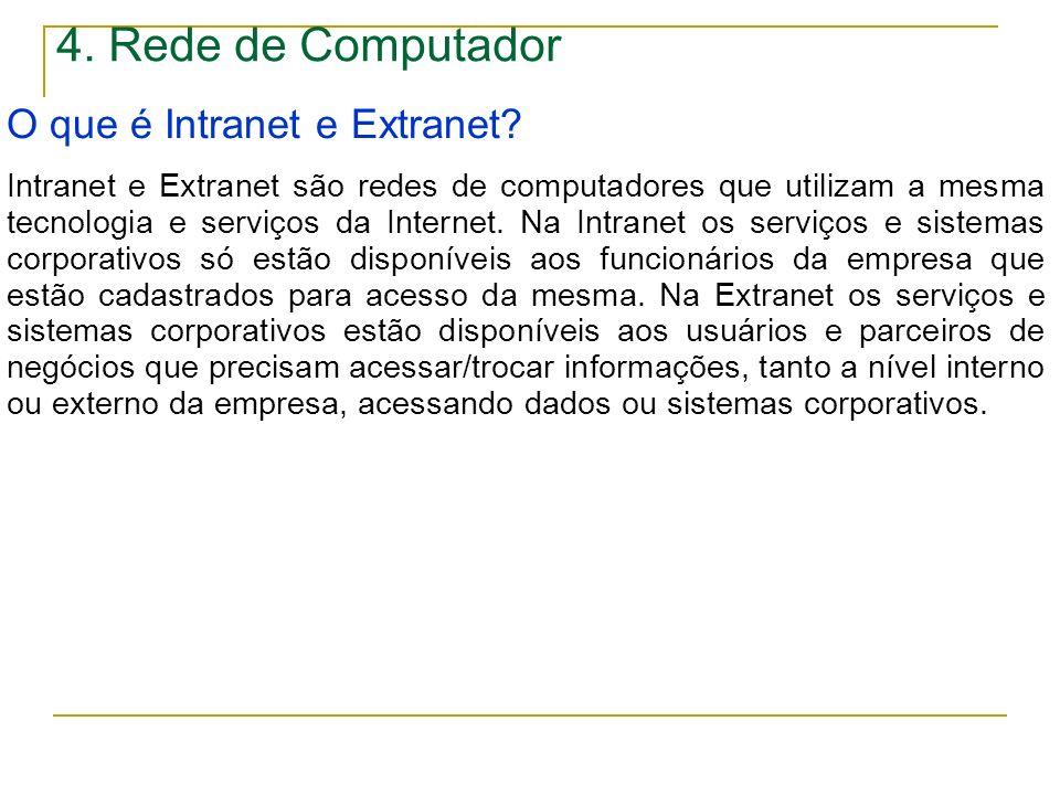4. Rede de Computador O que é Intranet e Extranet? Intranet e Extranet são redes de computadores que utilizam a mesma tecnologia e serviços da Interne
