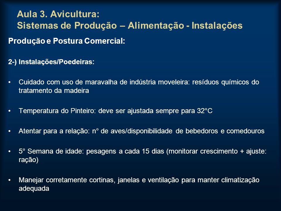 Aula 3. Avicultura: Sistemas de Produção – Alimentação - Instalações Produção e Postura Comercial: 2-) Instalações/Poedeiras: Cuidado com uso de marav
