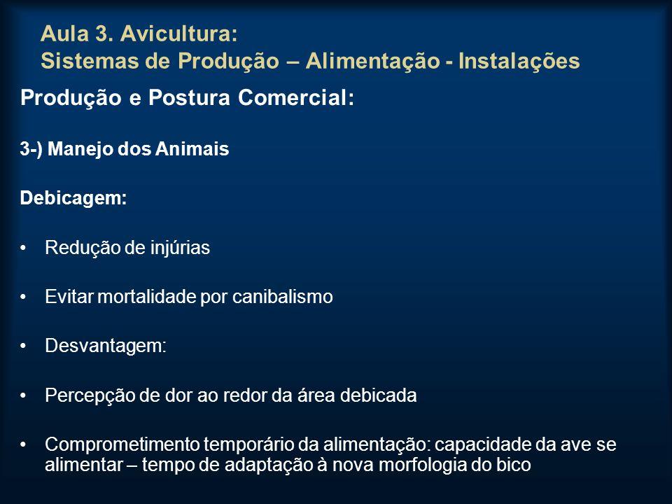 Aula 3. Avicultura: Sistemas de Produção – Alimentação - Instalações Produção e Postura Comercial: 3-) Manejo dos Animais Debicagem: Redução de injúri
