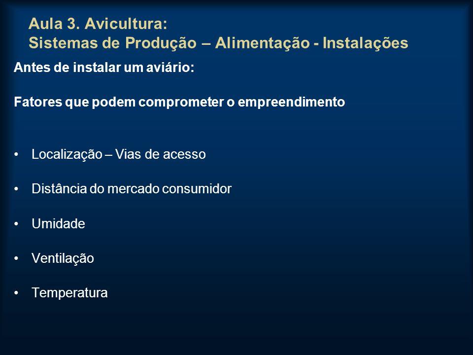 Aula 3. Avicultura: Sistemas de Produção – Alimentação - Instalações Antes de instalar um aviário: Fatores que podem comprometer o empreendimento Loca