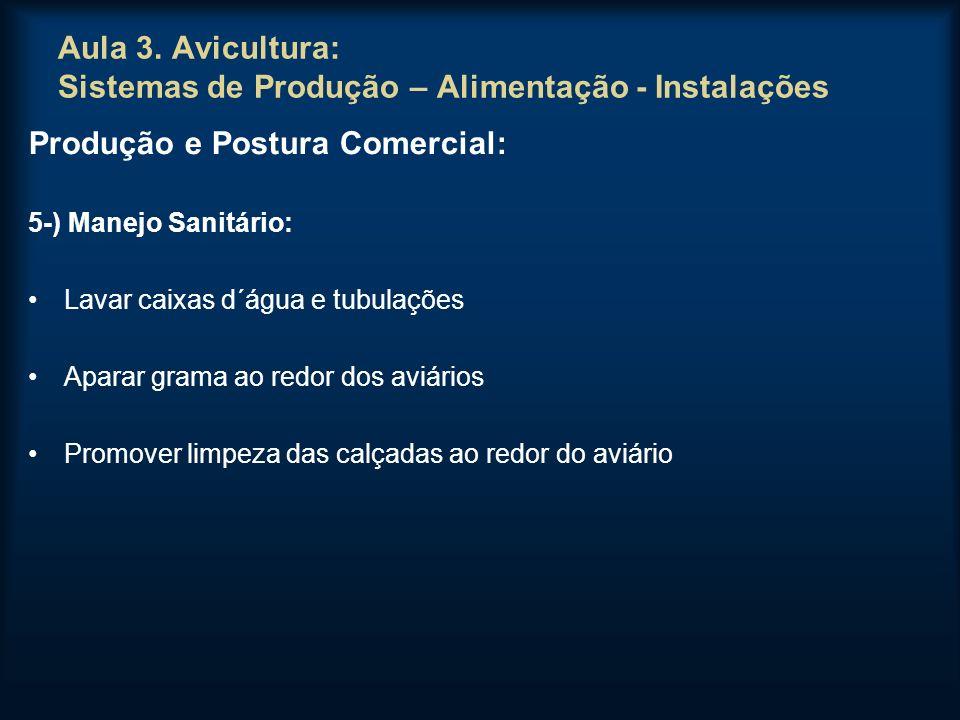 Aula 3. Avicultura: Sistemas de Produção – Alimentação - Instalações Produção e Postura Comercial: 5-) Manejo Sanitário: Lavar caixas d´água e tubulaç