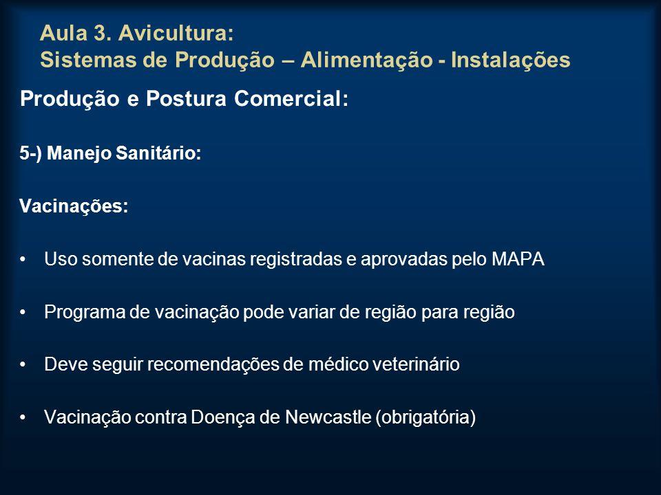 Aula 3. Avicultura: Sistemas de Produção – Alimentação - Instalações Produção e Postura Comercial: 5-) Manejo Sanitário: Vacinações: Uso somente de va