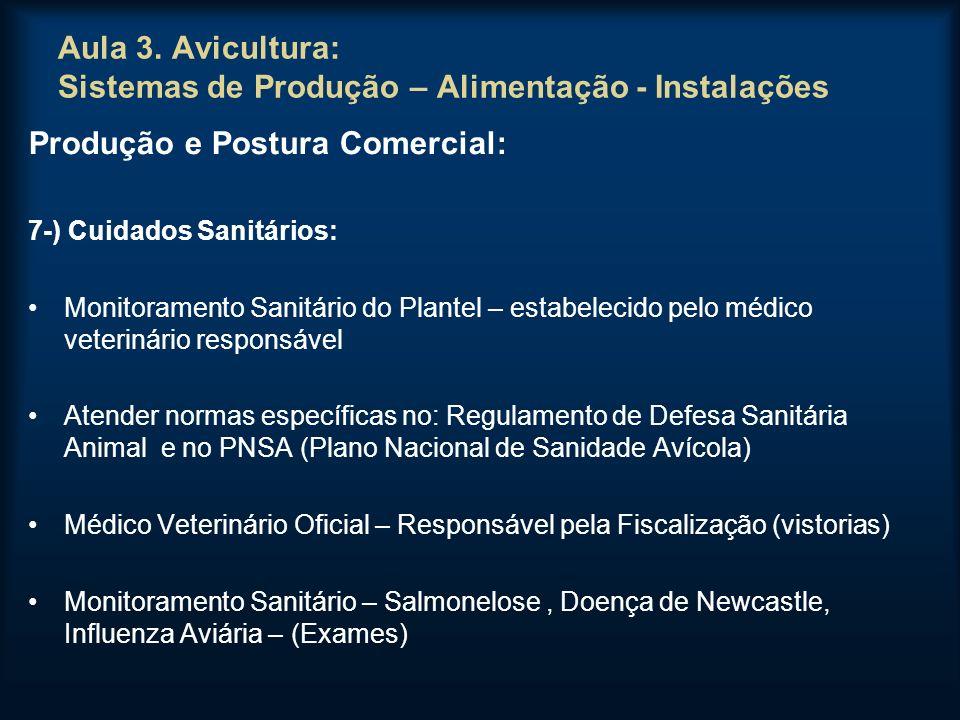 Aula 3. Avicultura: Sistemas de Produção – Alimentação - Instalações Produção e Postura Comercial: 7-) Cuidados Sanitários: Monitoramento Sanitário do