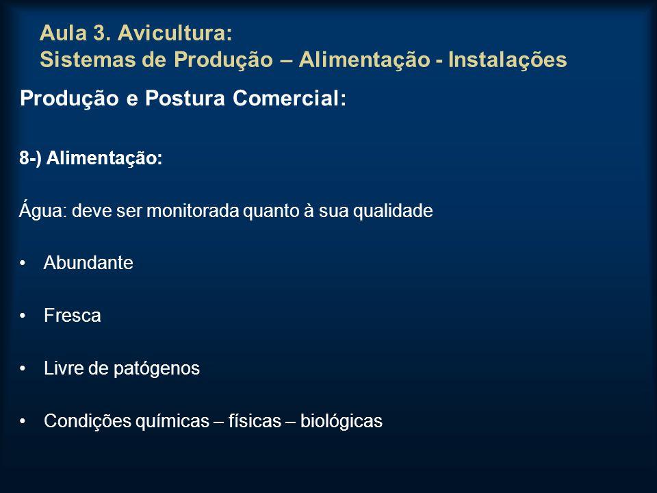 Aula 3. Avicultura: Sistemas de Produção – Alimentação - Instalações Produção e Postura Comercial: 8-) Alimentação: Água: deve ser monitorada quanto à