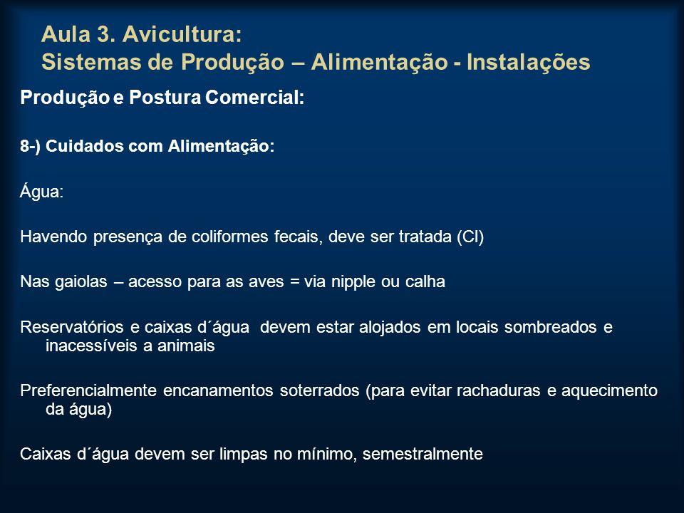 Aula 3. Avicultura: Sistemas de Produção – Alimentação - Instalações Produção e Postura Comercial: 8-) Cuidados com Alimentação: Água: Havendo presenç