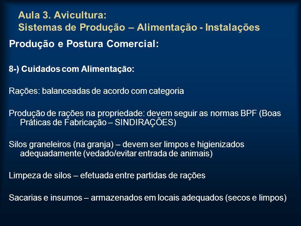 Aula 3. Avicultura: Sistemas de Produção – Alimentação - Instalações Produção e Postura Comercial: 8-) Cuidados com Alimentação: Rações: balanceadas d