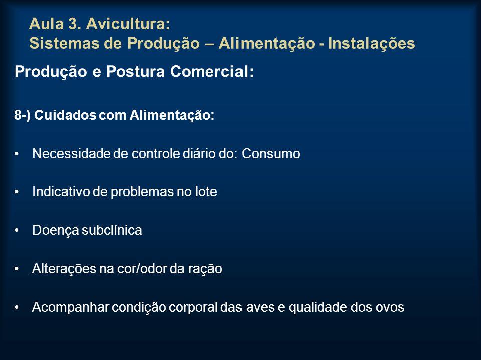 Aula 3. Avicultura: Sistemas de Produção – Alimentação - Instalações Produção e Postura Comercial: 8-) Cuidados com Alimentação: Necessidade de contro