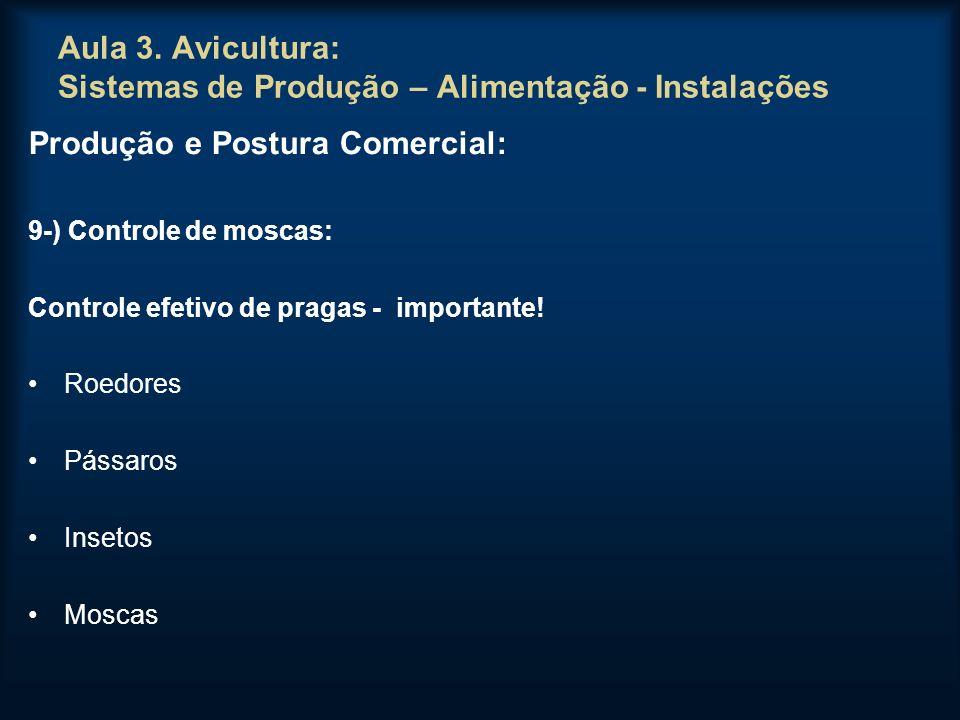 Aula 3. Avicultura: Sistemas de Produção – Alimentação - Instalações Produção e Postura Comercial: 9-) Controle de moscas: Controle efetivo de pragas