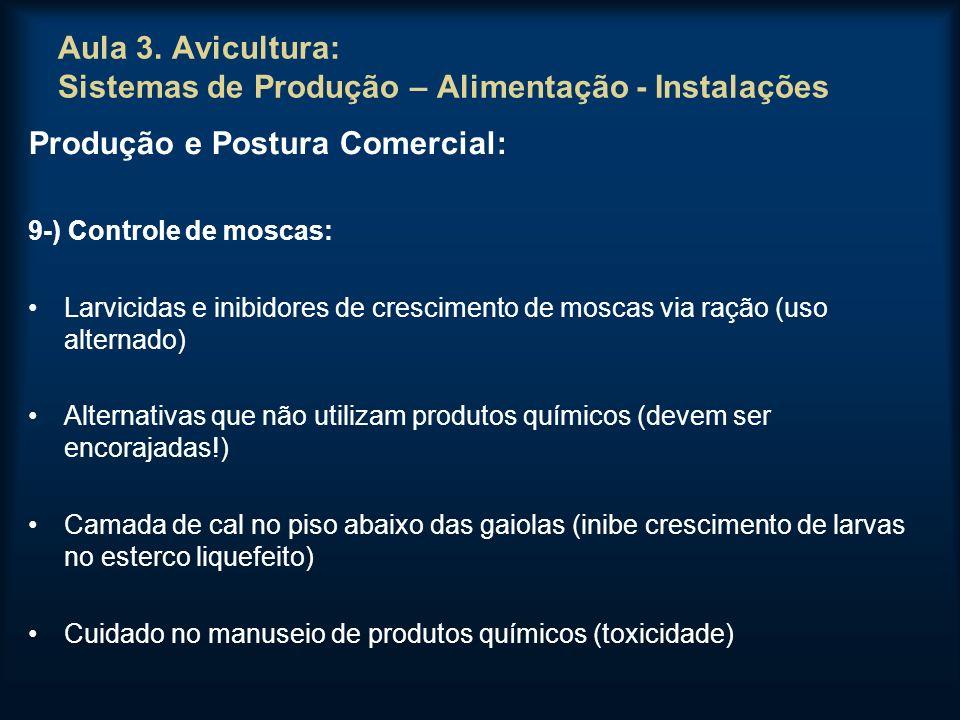Aula 3. Avicultura: Sistemas de Produção – Alimentação - Instalações Produção e Postura Comercial: 9-) Controle de moscas: Larvicidas e inibidores de