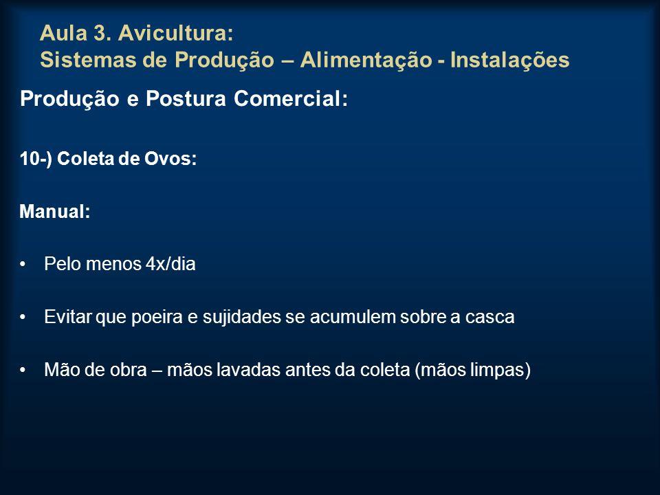Aula 3. Avicultura: Sistemas de Produção – Alimentação - Instalações Produção e Postura Comercial: 10-) Coleta de Ovos: Manual: Pelo menos 4x/dia Evit
