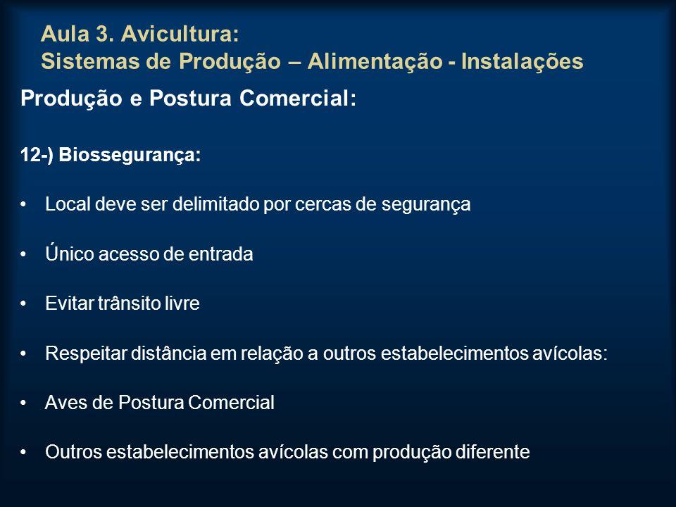 Aula 3. Avicultura: Sistemas de Produção – Alimentação - Instalações Produção e Postura Comercial: 12-) Biossegurança: Local deve ser delimitado por c