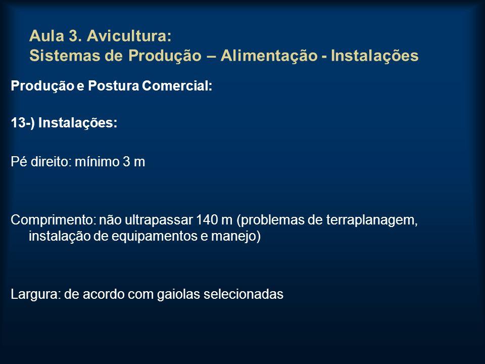 Aula 3. Avicultura: Sistemas de Produção – Alimentação - Instalações Produção e Postura Comercial: 13-) Instalações: Pé direito: mínimo 3 m Compriment