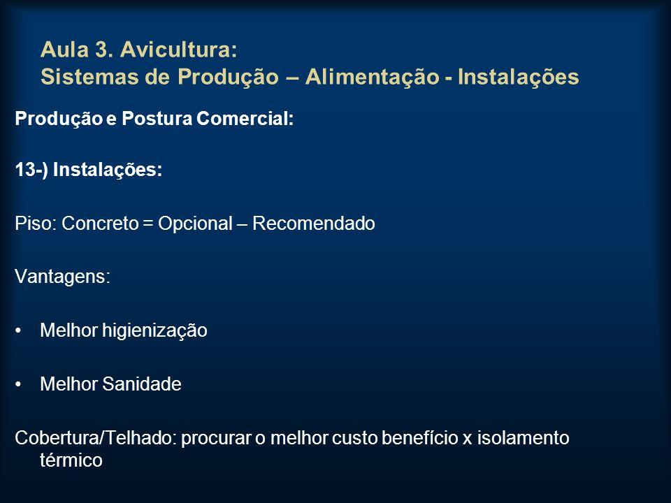 Aula 3. Avicultura: Sistemas de Produção – Alimentação - Instalações Produção e Postura Comercial: 13-) Instalações: Piso: Concreto = Opcional – Recom