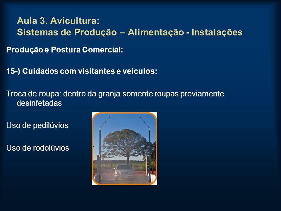 Aula 3. Avicultura: Sistemas de Produção – Alimentação - Instalações Produção e Postura Comercial: 15-) Cuidados com visitantes e veículos: Troca de r