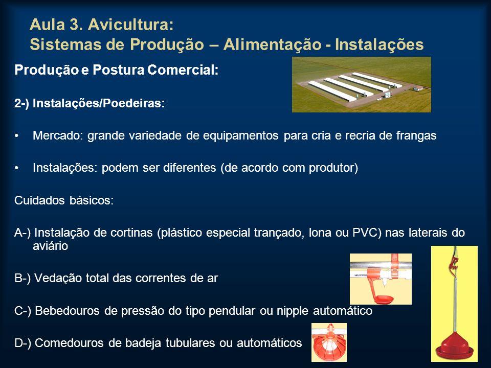 Aula 3. Avicultura: Sistemas de Produção – Alimentação - Instalações Produção e Postura Comercial: 2-) Instalações/Poedeiras: Mercado: grande variedad