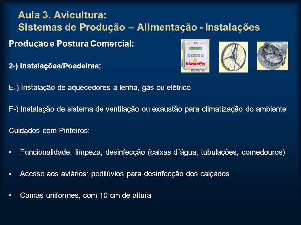 Aula 3. Avicultura: Sistemas de Produção – Alimentação - Instalações Produção e Postura Comercial: 2-) Instalações/Poedeiras: E-) Instalação de aquece