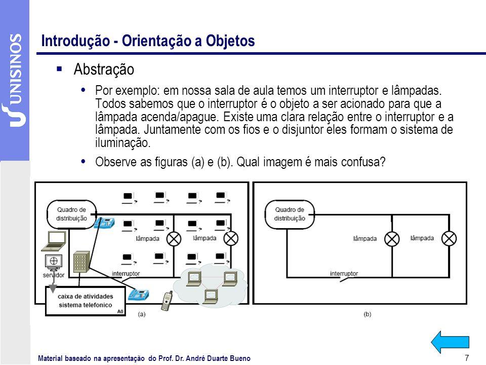 7 Introdução - Orientação a Objetos Abstração Por exemplo: em nossa sala de aula temos um interruptor e lâmpadas. Todos sabemos que o interruptor é o