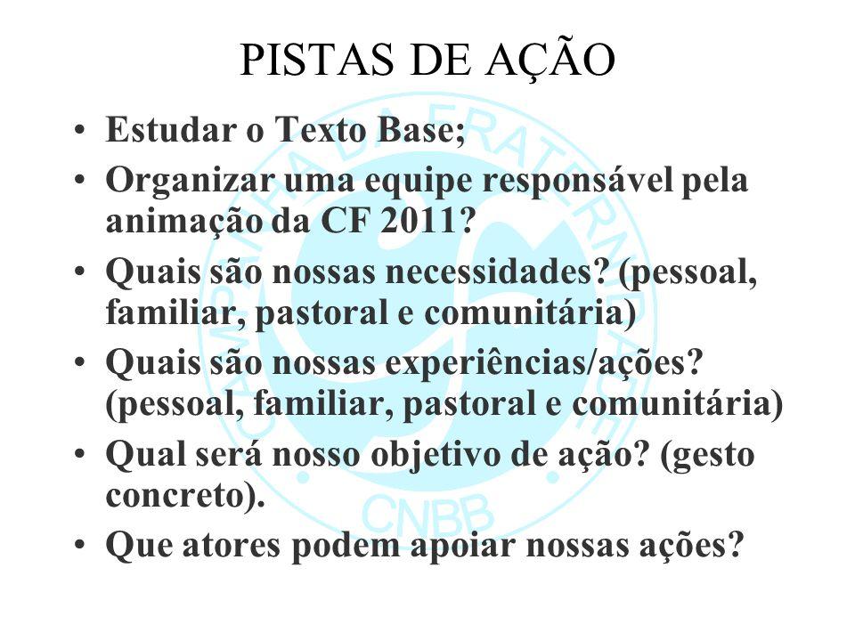 PISTAS DE AÇÃO Estudar o Texto Base; Organizar uma equipe responsável pela animação da CF 2011.