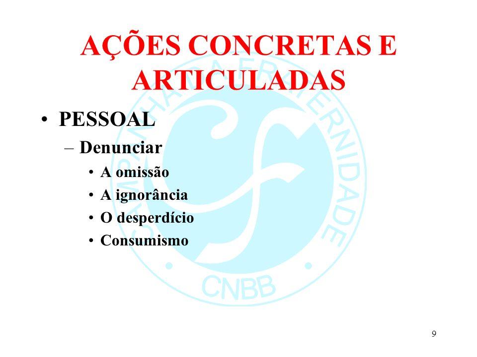 AÇÕES CONCRETAS E ARTICULADAS PESSOAL (continuação) –Propor Conversão Formação Comprometimento Austeridade –Mobilizar Agir local Pensar global 10