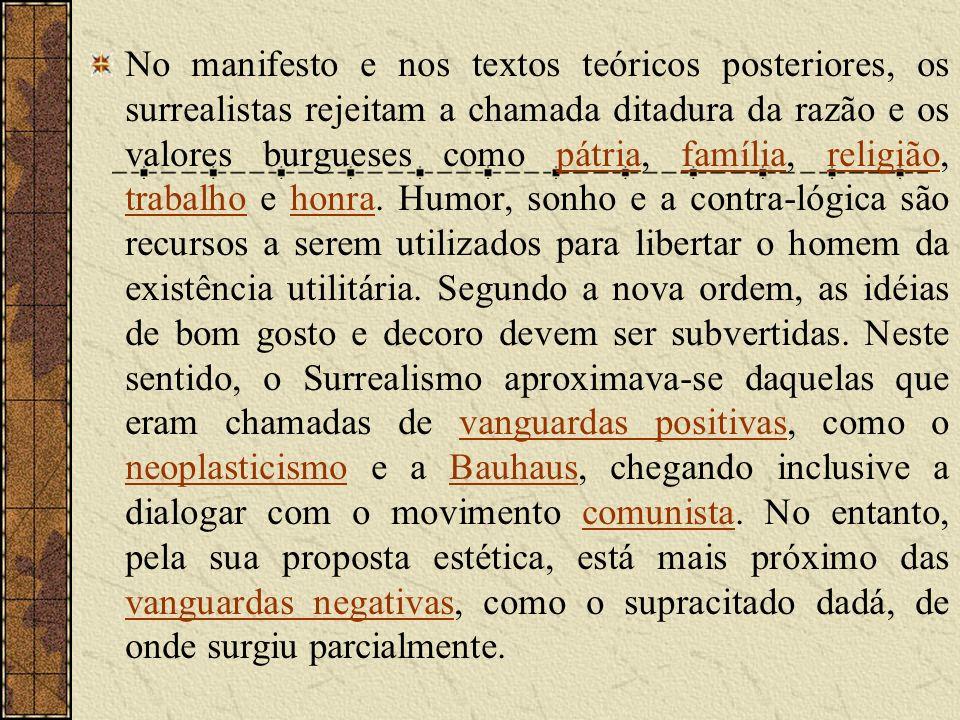 No manifesto e nos textos teóricos posteriores, os surrealistas rejeitam a chamada ditadura da razão e os valores burgueses como pátria, família, religião, trabalho e honra.