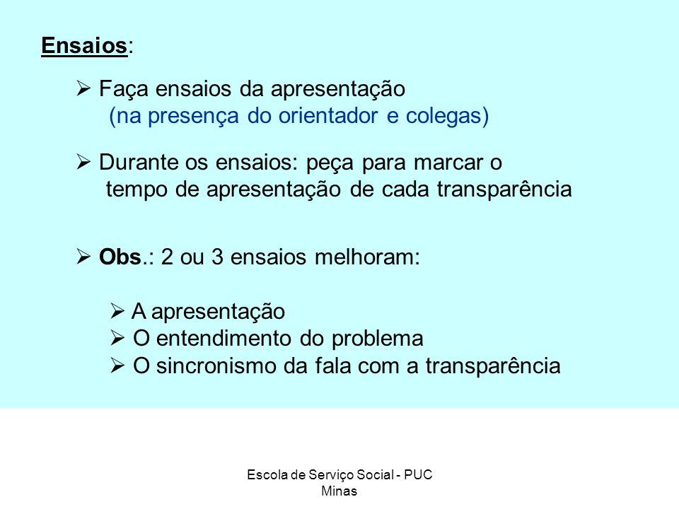 Escola de Serviço Social - PUC Minas Ensaios: Faça ensaios da apresentação (na presença do orientador e colegas) Durante os ensaios: peça para marcar